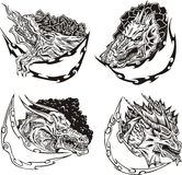 Decorative templates with dragon heads Stock Image