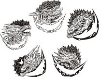 Decorative templates with dragon heads Stock Photo
