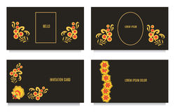 Decorative templates for invitations, greeting, visit cards and vouchers at khokhloma floral  style with black background Royalty Free Stock Image