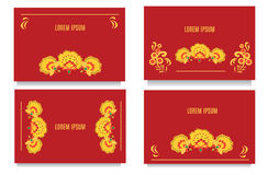Decorative templates for invitations, greeting, visit cards and vouchers at khokhloma floral  style with red background Royalty Free Stock Image