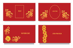 Decorative templates for invitations, greeting, visit cards and vouchers at khokhloma floral  style with red background Stock Photos