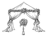 Decorative tent for a party or wedding with flower decorations,  vector illustration. Decorative tent for a party or wedding with flower decorations, vector vector illustration