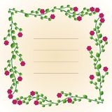 Decorative text frame. With flowers and leaves royalty free illustration