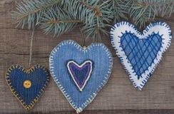 Decorative textile hearts Royalty Free Stock Photos