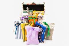 Decorative textile sachet pouches Stock Images