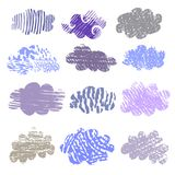 Set of clouds   design. Decorative  texture set  with  clouds. Unique handdrawn texture.Scandinavian design. isolated. Vector illustration Stock Photography