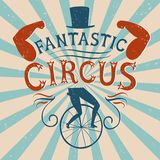 Decorative textured vintage  poster for circus Stock Photography