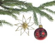 Decorative theme with red christmas bauble Stock Photos