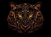 Tiger head tattoo. Decorative tiger head tattoo on black Stock Image