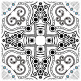 Decorative tile pattern design. Vector illustration. Geometric seamless pattern with black and white Stock Photo
