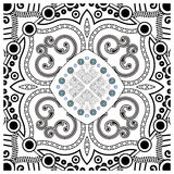 Decorative tile pattern design. Vector illustration. Geometric seamless pattern with black and white Stock Images