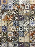 Decorative tiles with majolica patterns. Detail of the traditional decorative tiles with majolica patterns. Spain traditional tiles. Floral ornament Stock Photos