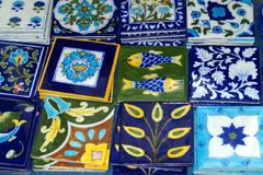 Decorative Tiles, Oia, Greece. Decorative hand painted tiles for sale, Oia, Santorini, Cyclades island group, Agean, Mediterranean, Greece Royalty Free Stock Photos