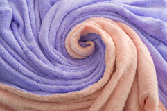 Decorative towel - wave. Purple and pink towel close-up Royalty Free Stock Photography