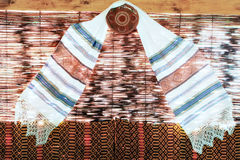 Decorative towel on wicker background Royalty Free Stock Photography