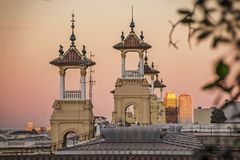Decorative towers near the National Museum of Catalan Art MNAC on the Plaza of Spain in Barcelona.  stock photography