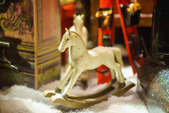 Decorative toy horse in snow. clouse up. Decorative toy horse in snow. clouse-up Stock Photography