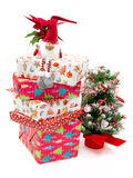 Decorative toy with presents and Christmas tree. Royalty Free Stock Photos