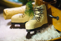 Decorative toy skates in snow. clouse up. Decorative toy skates in snow. clouse-up Royalty Free Stock Image