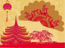 Decorative Traditional lanterns ,Chinese landscape. And beautiful fans card vector illustration