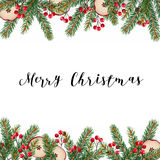 Decorative traditional Merry Christmas frame, border. Fir, spruce green branches decorated with red berries and dried apples Royalty Free Stock Image