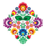 Folk embroidery with flowers - traditional polish pattern Stock Image