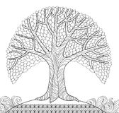 Decorative tree. Adult antistress coloring page. Black and white hand drawn doodle for coloring book. Vector illustration Stock Photography