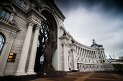 Decorative tree in arc of palace. Beautiful contemporary Palace of farmers with decorative tree in middle of arc, Kazan, Russian Federation Royalty Free Stock Photos