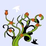 Decorative tree with bird. Colorful illustration Royalty Free Stock Photo