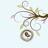 Decorative tree and bird, vector Royalty Free Stock Photography