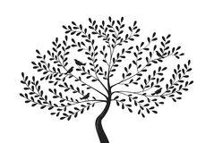 Decorative tree with birds on branches. Silhouette vector illustration Stock Images
