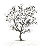 Decorative tree. Black silhouette. Royalty Free Stock Image
