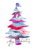 Decorative Tree Card. Greeting card with Christmas tree created with watercolors in a delicate, decorative style. Lettering created by hand with ink Stock Photos