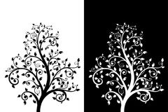Decorative tree with leaves. Black and white. Vector illustration Royalty Free Stock Photo
