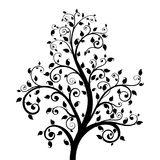 Decorative tree. With leaves. Vector illustration isolated on white background Royalty Free Stock Photo