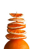 Decorative tree from orange slices on a white background Stock Photos