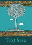 Decorative tree in ornamental border,. Illustration Royalty Free Stock Images