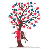 Decorative tree silhouette with fairy. Full color Royalty Free Stock Photo