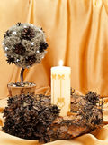 Decorative tree, wreath and candle Stock Image