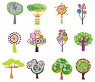 Decorative trees icons Stock Photography