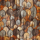 Decorative trees on seamless background - wood texture Stock Images