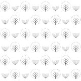 Decorative trees seamless pattern on white background. Cute nature background. Design for textile, wallpaper, fabric Royalty Free Stock Image