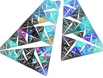 Decorative triangles. Fractal - blue and decorative triangles Stock Photo