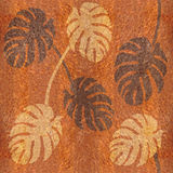 Decorative tropical leaves - seamless background - wood texture Royalty Free Stock Images