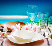Decorative tropical table setting stock images