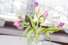 A decorative tulip bouquet on a table. A decorative tulip bouquet on a dining room table cloth Stock Images