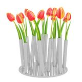 Decorative Tulips planted in grey metal pot. Isolated on white background. 3D Rendering, Illustration Stock Images