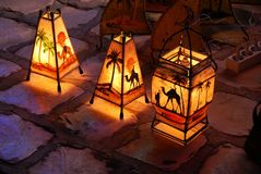 Decorative Tunisian Lamps Stock Photography