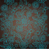 Decorative turquoise flower, brown background Royalty Free Stock Images