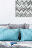 Decorative turquoise and grey cushions Royalty Free Stock Images